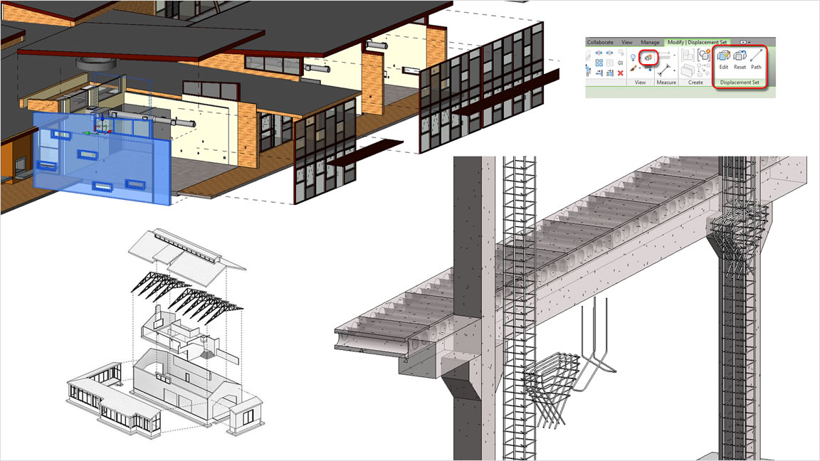 Create exploded views of building designs