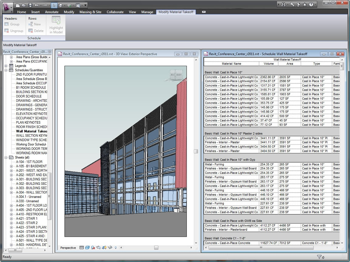 Use the parametric change engine in Revit to calculate and track material quantities