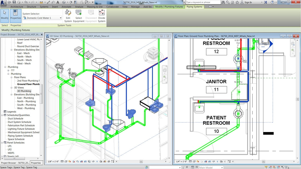 plumbing design and documentation revit features