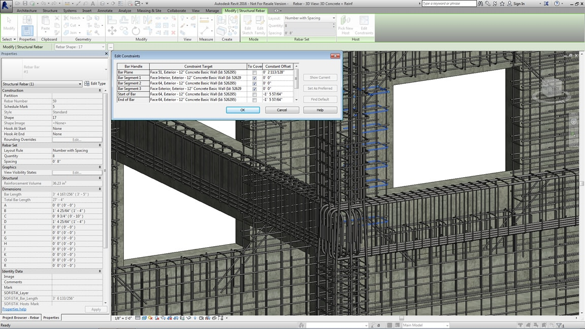 Model 3D concrete reinforcement in a BIM environment