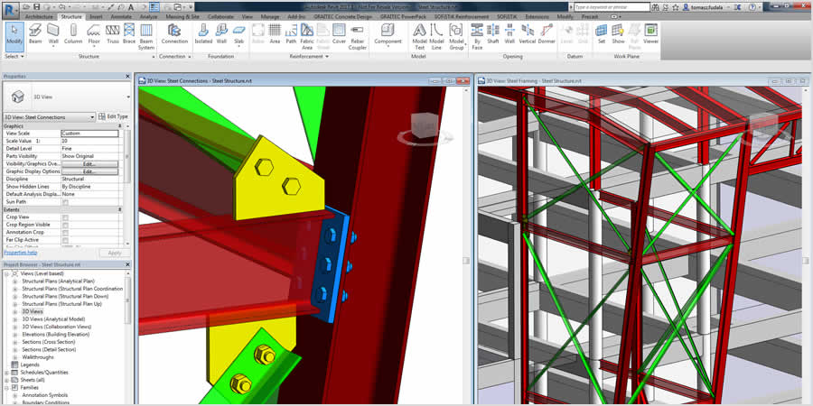 Define design intent for a higher level of detail for steel connections in the Revit model