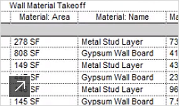 View of wall material takeoff dataset in Revit LT