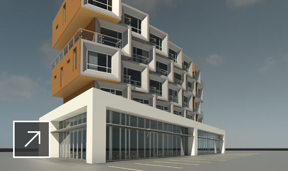 3D rendering of modern commercial building in Autodesk 360