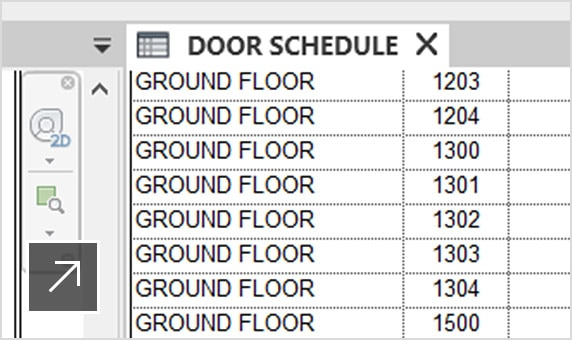 A door schedule associated with doors in a floorplan in Revit LT