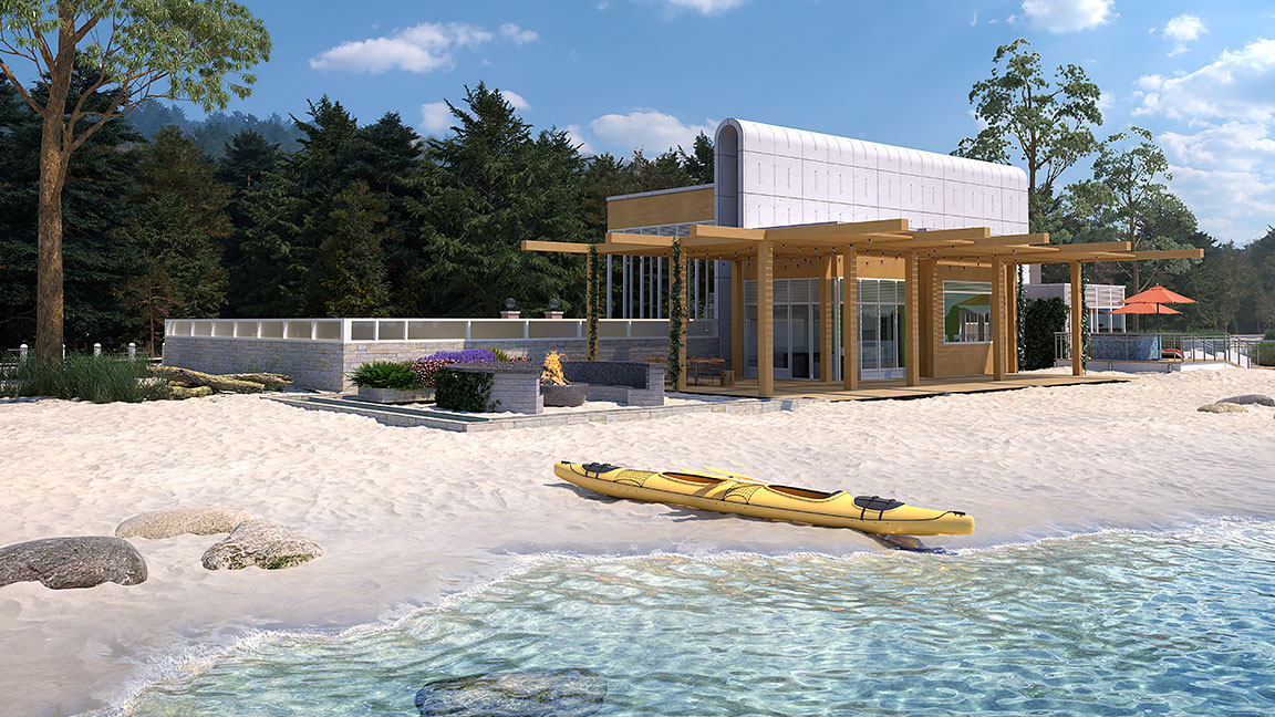 Modern residential building on a sunny beach with kayak in front and trees behind