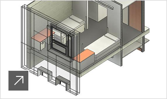 3D model řezu stavbou se stěnami, dveřmi, okny avybavením