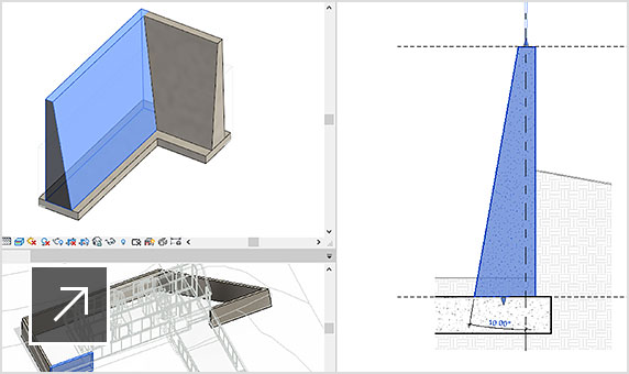 Revit LT properties dialog overlayed with three views of the interior and exterior surfaces of a sloped wall