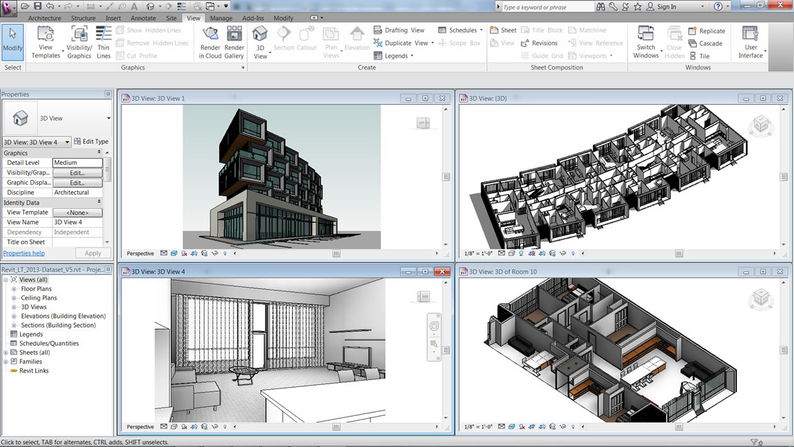 3D views of the exterior, interior and a single room in a building