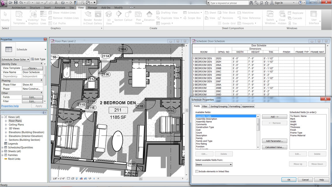 Auto generated schedules revit lt features for Auto floor plan software