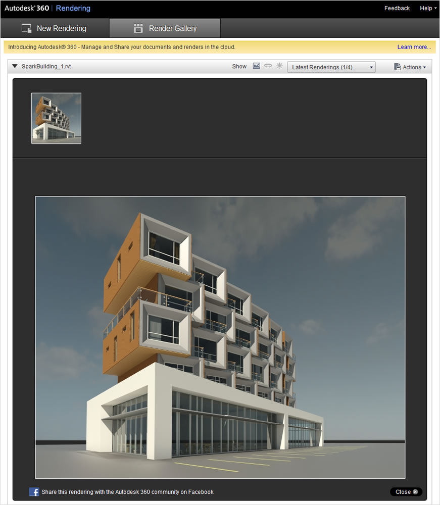 Photorealistic rendering of a building