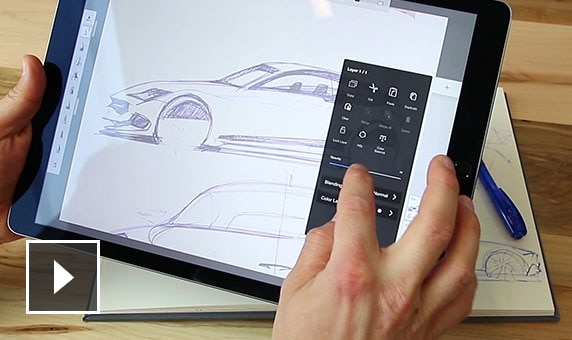 Video: How the Scan Sketch feature works by importing a sketch of a car on paper to a mobile device