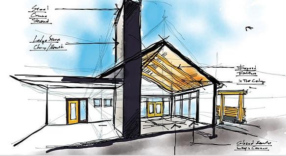 Sketch concept of a building made in SketchBook