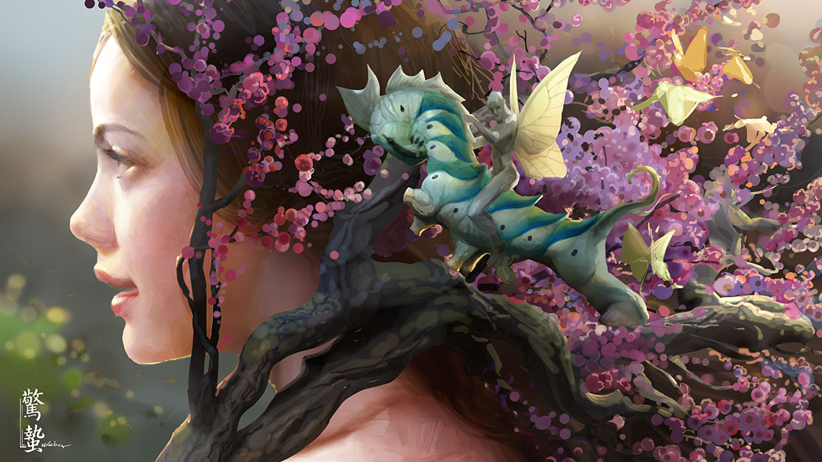 Profile of a young girl covered by a spray of cherry blossoms with a fairy riding a seahorse
