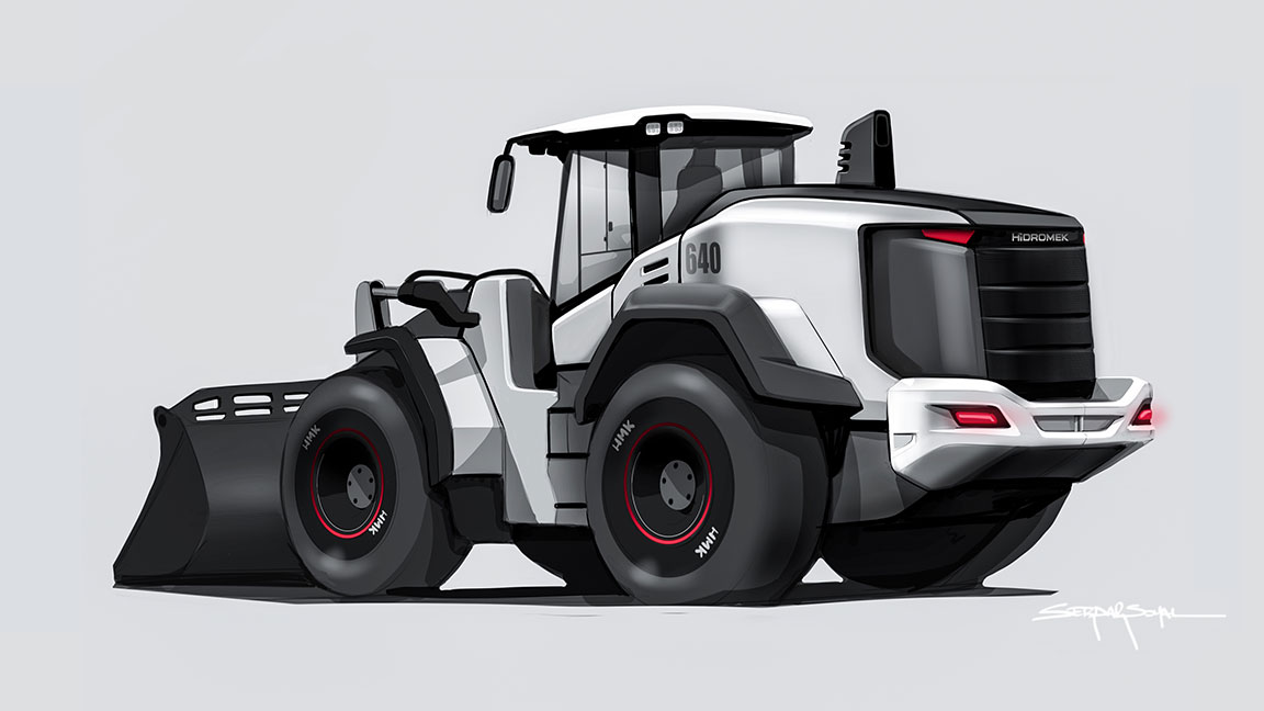 White, black and red tractor