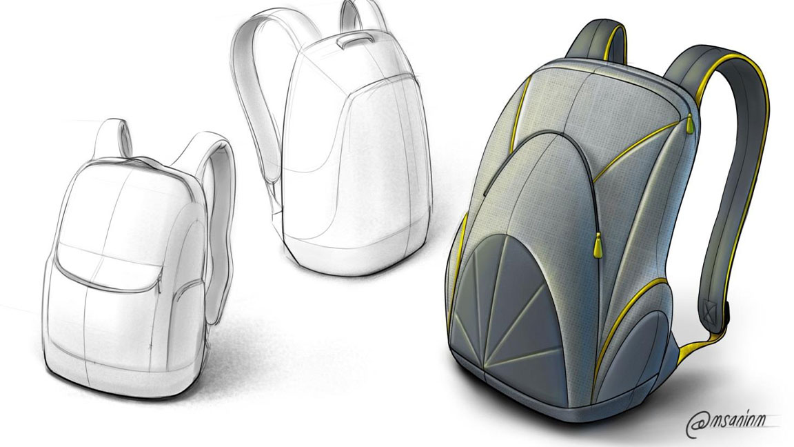 2 black-and-white drawings of backpacks and 1 colour drawing of a backpack