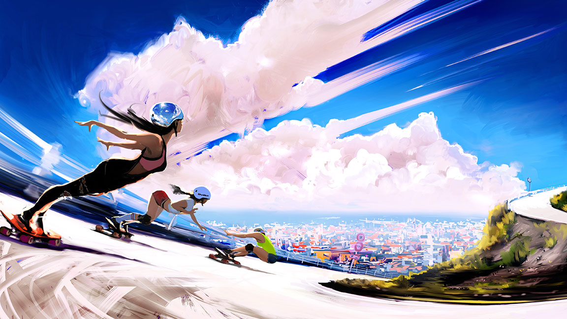3 female skateboarders going around a turn down a hill with a blue sky and cityscape in the background
