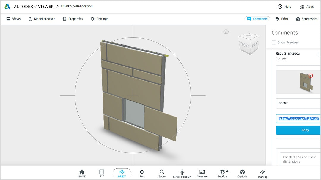 Image of model in Shared Views interface