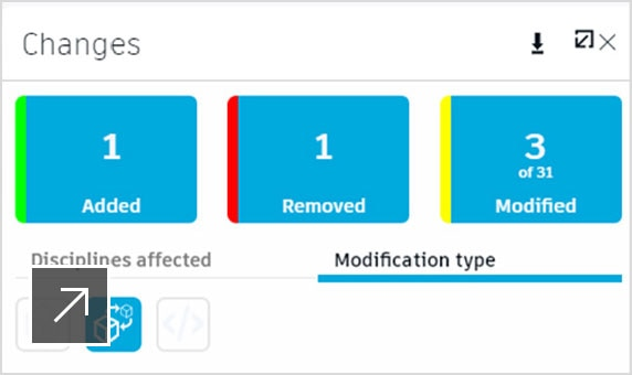 Screenshot of change panel in BIM 360 Design collaboration