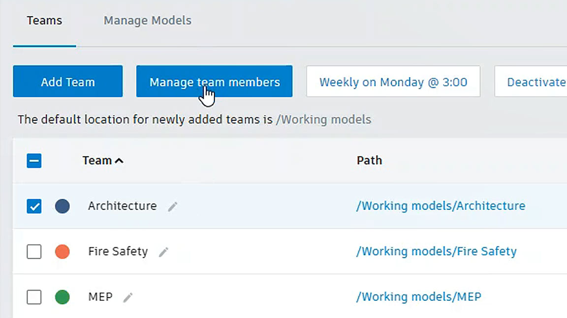 Screenshot of BIM 360 modules and folders showing names of multidiscipline teams
