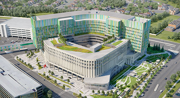 Rendering of Calgary Cancer Centre, a 50-50 collaboration between DIALOGUE and Stantec Architecture