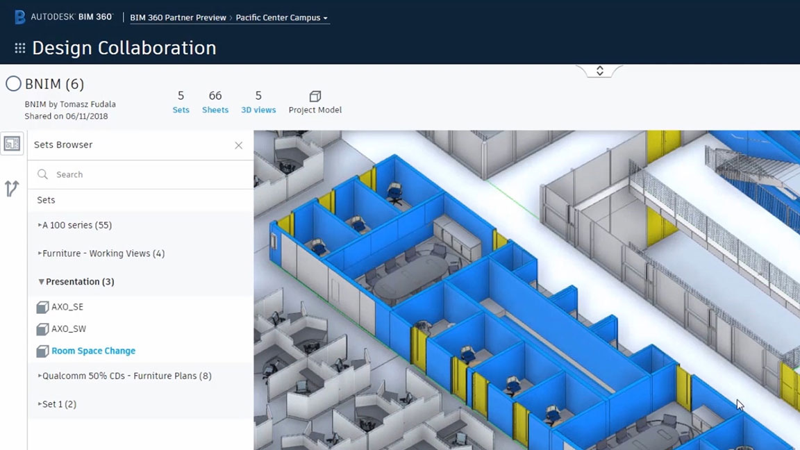 Screenshot of change panel showing updates made to a model by a collaborating team in BIM 360 Design