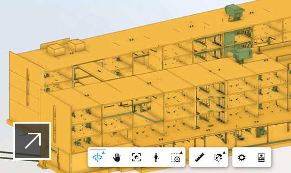 Design Collaboration UI showing a combination of the MEP, structure, and architecture Revit models toggled on as required to view changes.