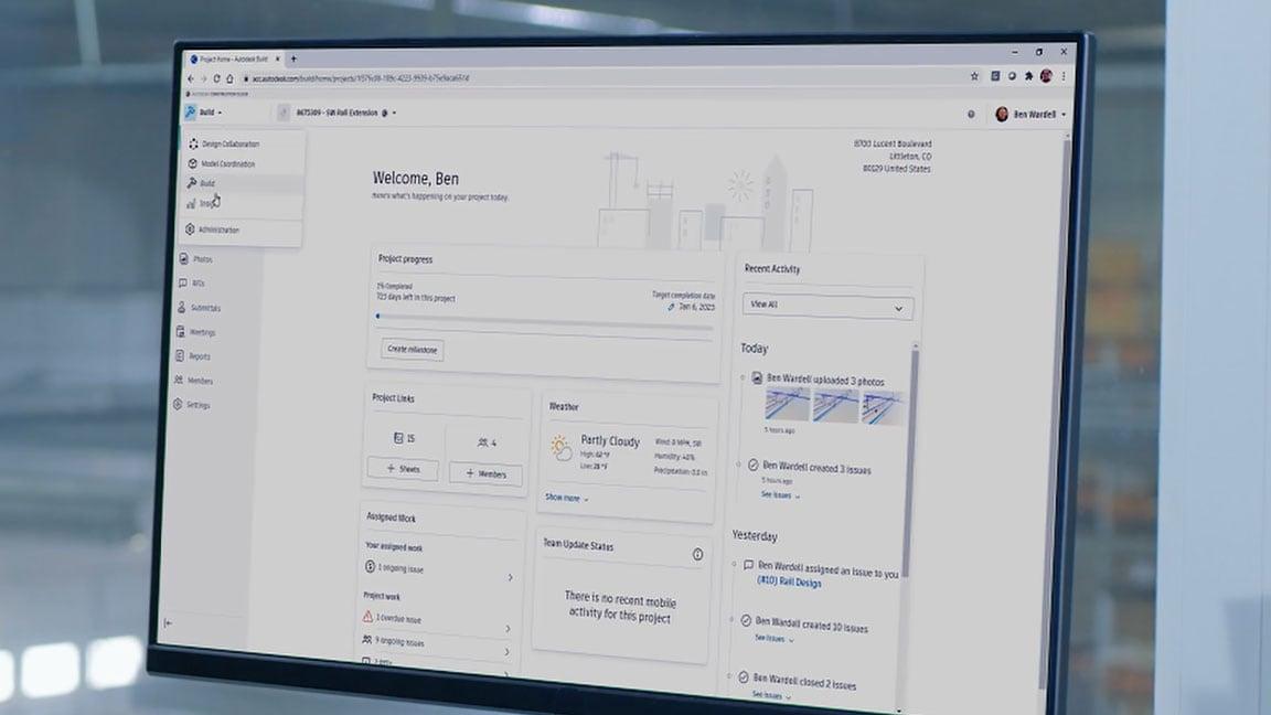 Autodesk BIM Collaborate Pro interface on a desktop display showing project progress