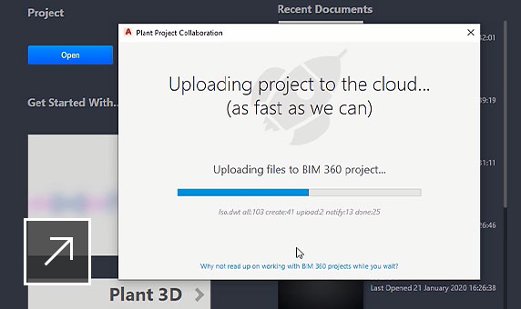 AutoCAD Plant 3D product UI showing user uploading all files to their BIM 360 project in the cloud.