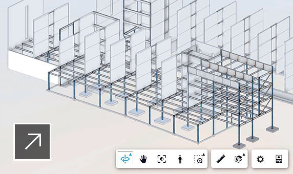 Screenshot of product UI showing a full view of the structural model in Revit right in the user's web browser.