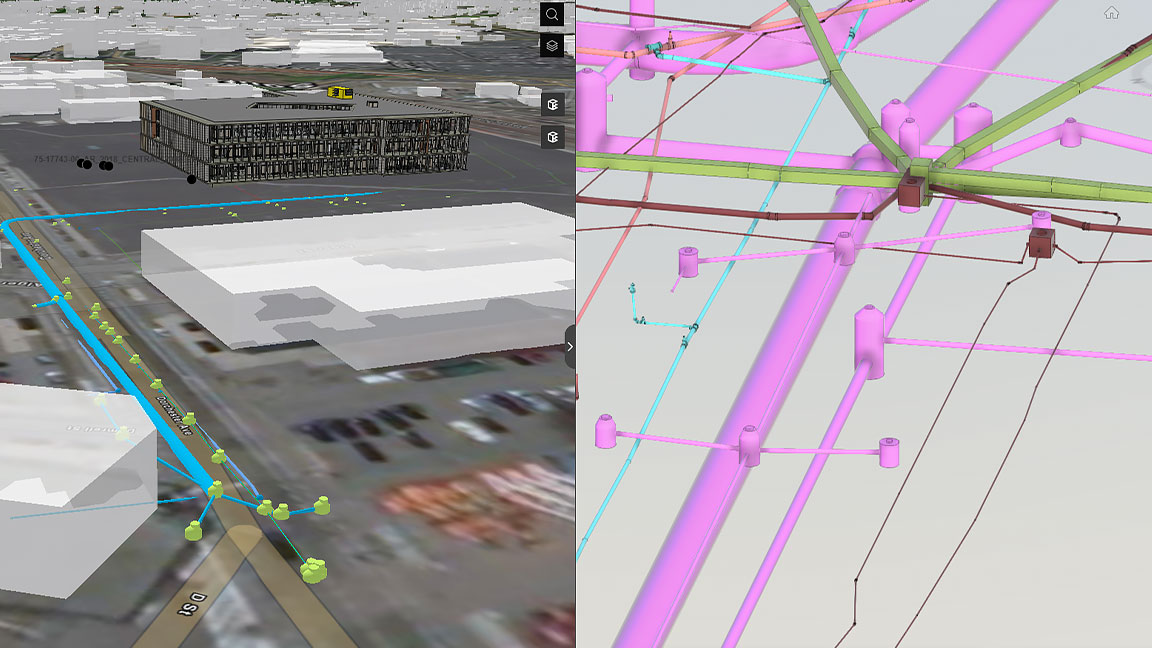 Web app interface showing drainage network project web scene and design model  view