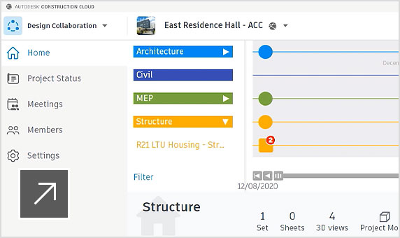 Design Collaboration product UI showing a one-month view of packages exchanged on the project timeline.
