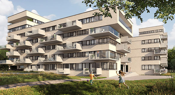 A 3D multiple story and modern apartment development, including several overhanging balconies and two kids playing on the lawn in front.