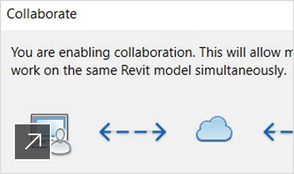 Revit product UI just as user initiates collaboration in the cloud.