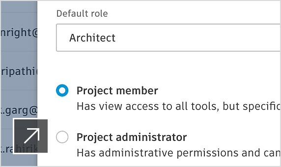 Account administrator in Project Admin UI adding new member to the team with specified access levels.