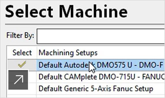 다양한 기계 목록에서 CNC 기계의 선택을 보여주는 CAMplete TruePath 사용자 인터페이스