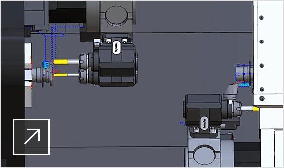 Nakamura-Tome 멀티태스킹 기계 공구의 시뮬레이션을 보여주는 CAMplete TurnMill 사용자 인터페이스