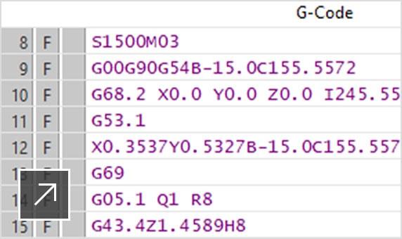 후처리된 NC 코드 파일(명령 블록이 컬러로 표시됨)을 보여주는 CAMplete TruePath 사용자 인터페이스