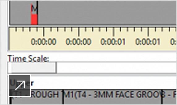 CNC 기계의 위쪽과 아래쪽 터릿에서 작동하는 기계 가공 작업의 타임라인을 보여주는 CAMplete TurnMill 사용자 인터페이스