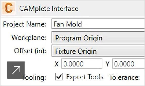 데이터를 CAMplete TruePath로 내보내는 데 도움이 되는 전용 플러그인이 표시된 PowerMill CAM 소프트웨어 인터페이스