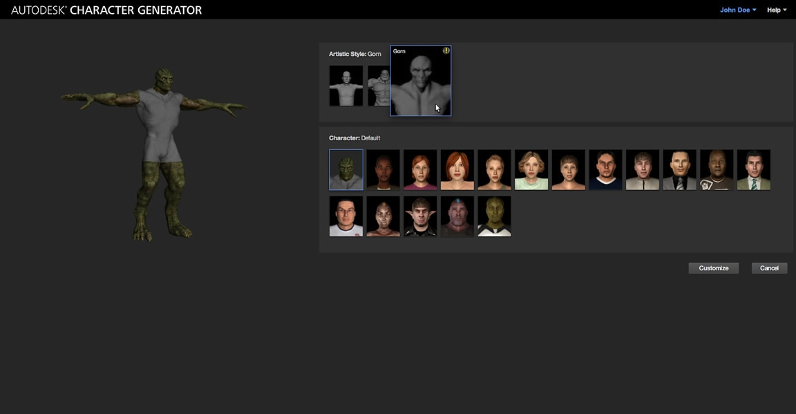Autodesk Character Generator: Artistic Styles tool-autodesk