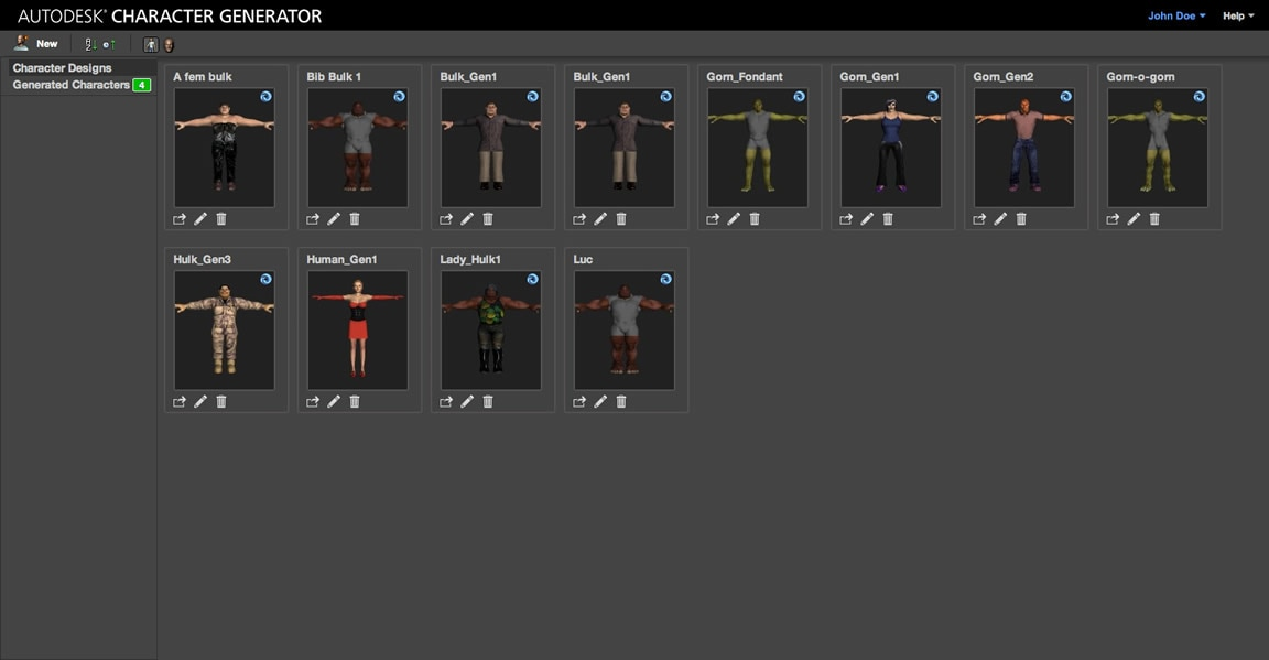 Character Generator web-based service for hobbyists, students, professionals-autodesk