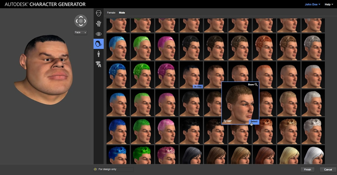 Generate unique characters accessing a library of hair, skin, and eye options-autodesk