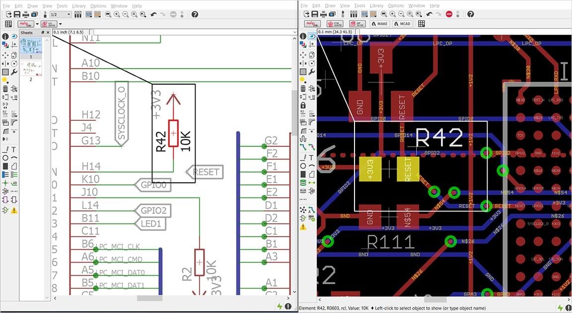 Synchronisierung zwischen Stromlaufplan und Leiterplatte