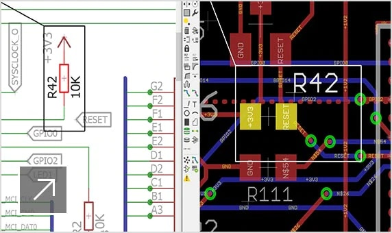 User interface in EAGLE displaying a side-by-side view of design schematic and layout
