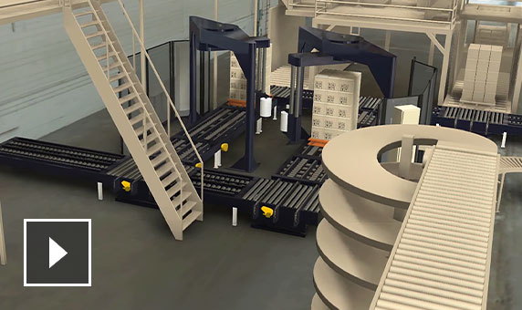 Video: Detail view of wrapping station 3D model with elevated process line