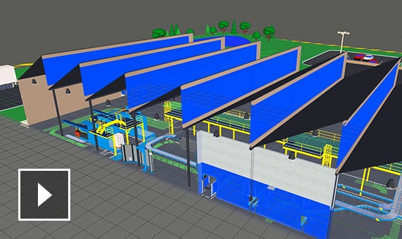 Side view of manufacturing facility floor layout showing rows of machines