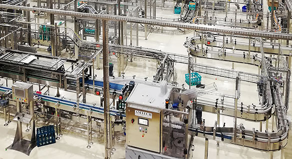 Packaging system on a large factory floor