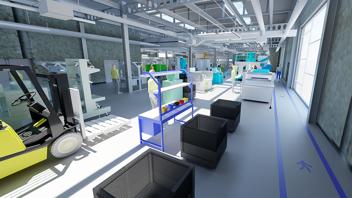 Virtual walk-through of the factory floor