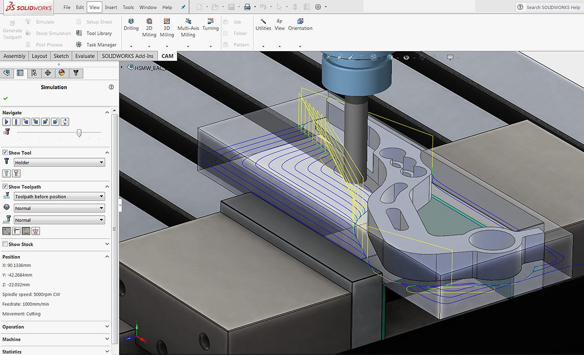 HSMXpress is a free SOLIDWORKS plug-in for basic milling