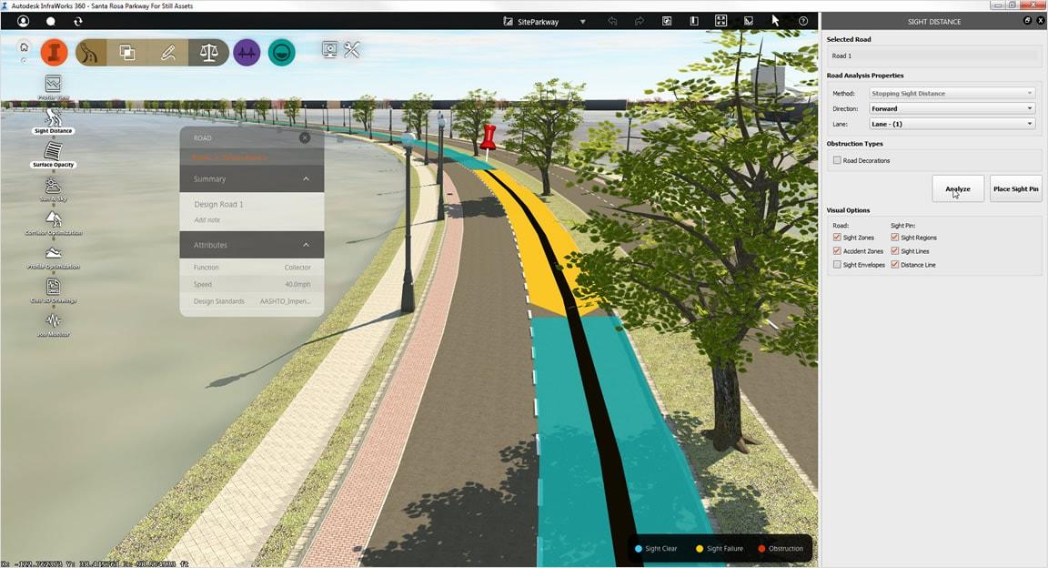 面向道路、桥梁和排水的垂直应用程序提供专用功能